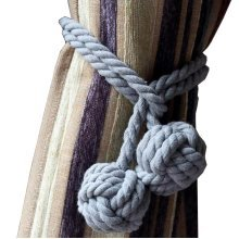 A Pair of Curtain Tiebacks Curtain Holdbacks, Gray