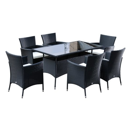 Outsunny Outdoor Garden Rattan Furniture Cube Dining Set Black