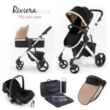 Tutti Bambini Riviera Plus 3 in 1 White Pushchair - Black/taupe