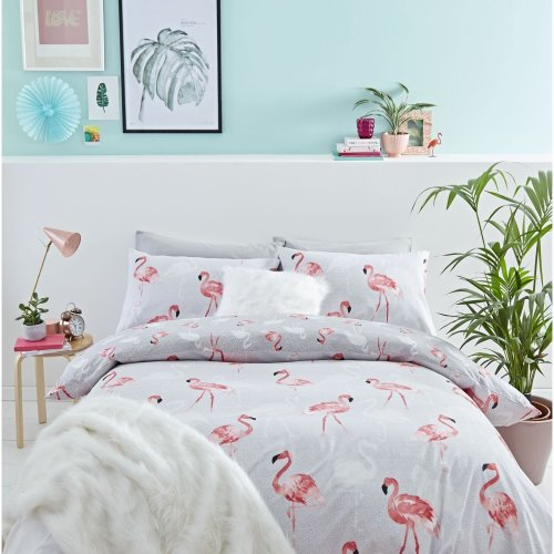 Catherine Lansfield Flamingo Easy Care King Duvet Set Grey