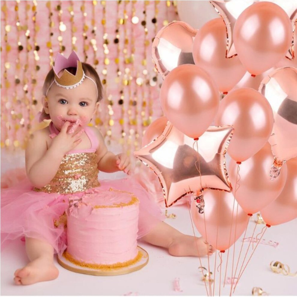 Weimi 40th Birthday Decorations Rose Gold For Women 45 Pcs Inflating Foil HAPPY BIRTHDAY Banner Star