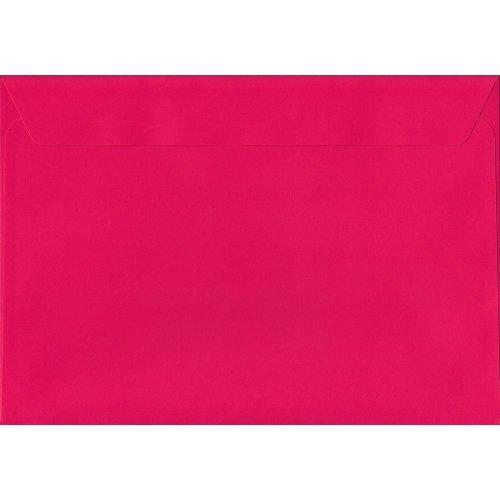 Shocking Pink Peel/Seal C4/A4 Coloured Pink Envelopes. 120gsm Luxury FSC Certified Paper. 229mm x 324mm. Wallet Style Envelope.